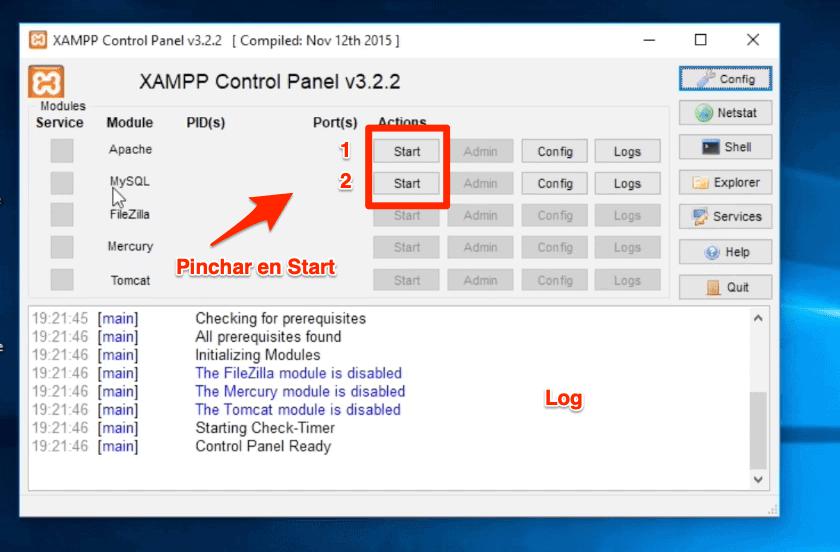 Marcar casilla ver panel de control Xampp