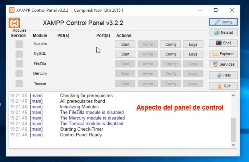 Dashboard panel de control xampp