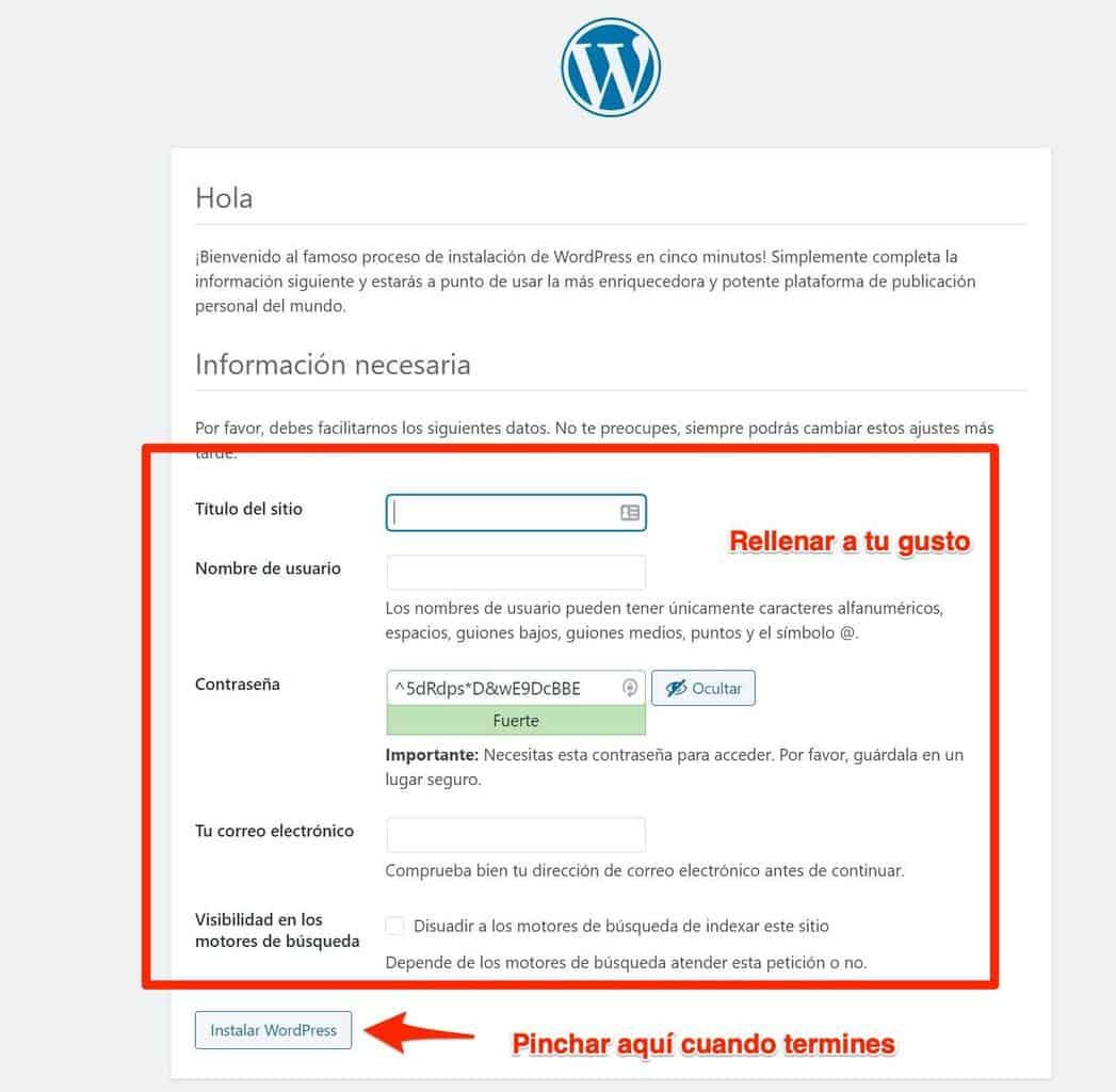 Proceso instalación WordPress