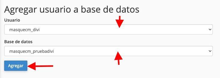 Agregar usuario base de datos