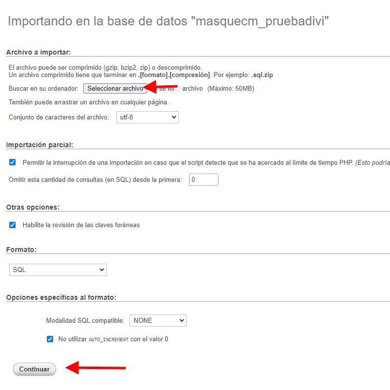 Cargar base de datos