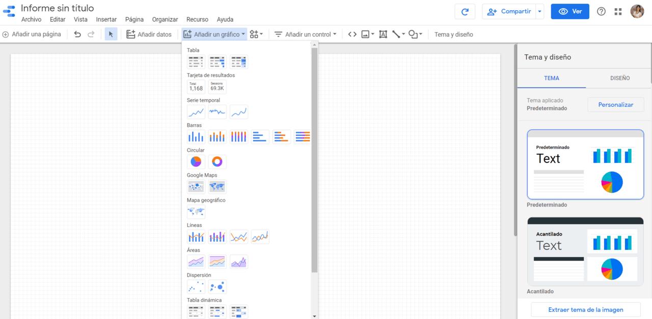 Añadir gráfico Informe Google Data Estudio