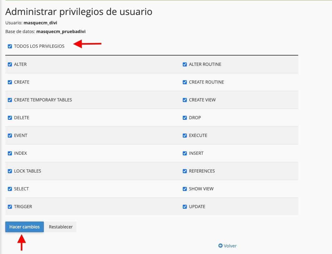 Privilegios usuario base de datos
