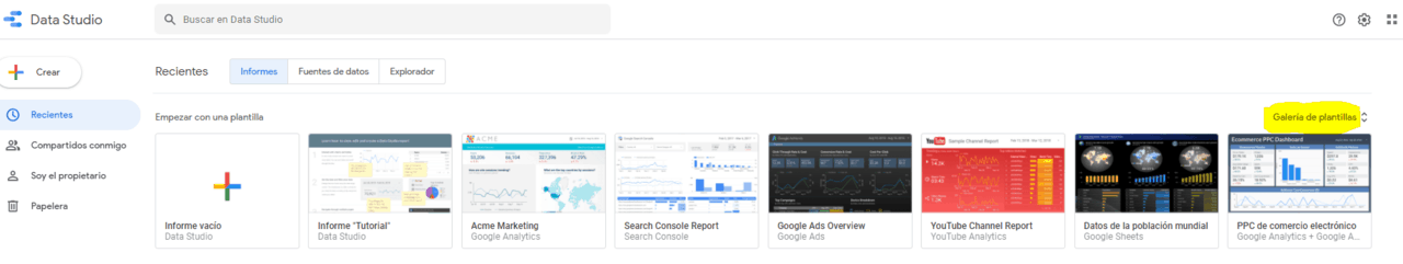 Plantillas Google Data Estudio