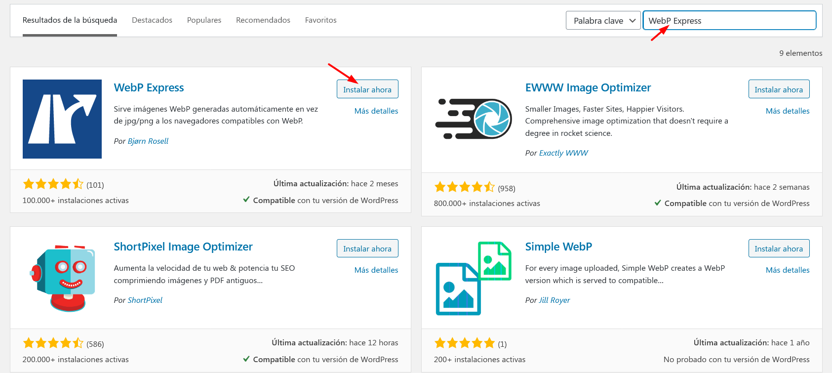 Instalar Webp Plugin
