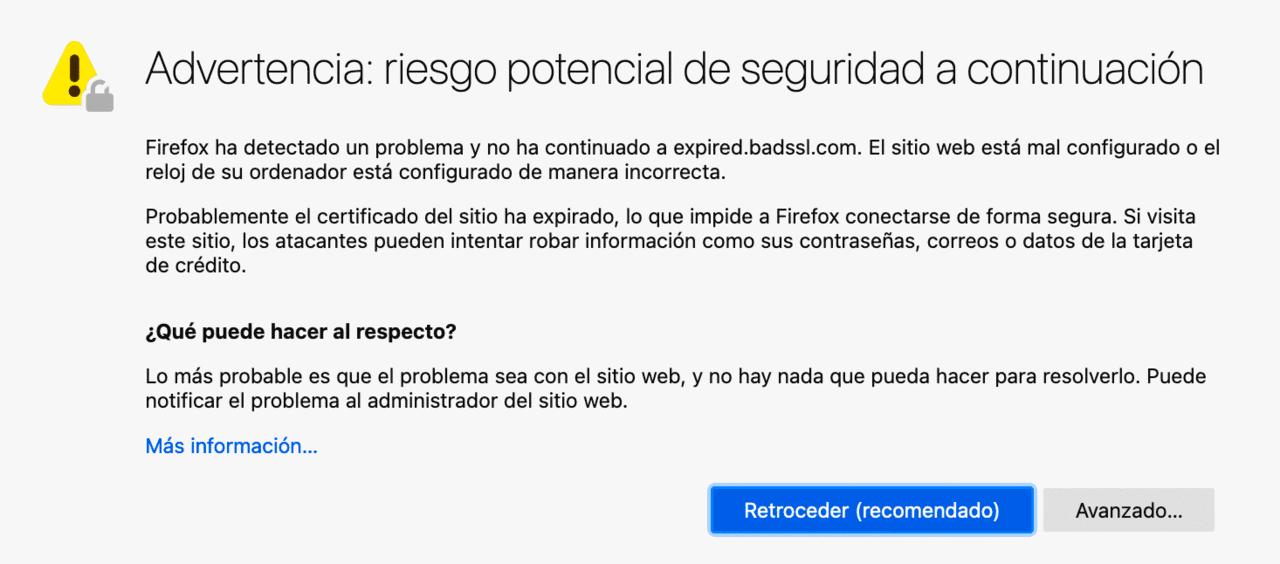 la conexión no es privada en Firefox