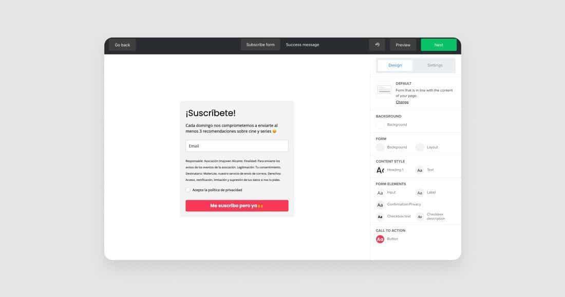 Plugin builder para la suscripción de newsletter en WordPress