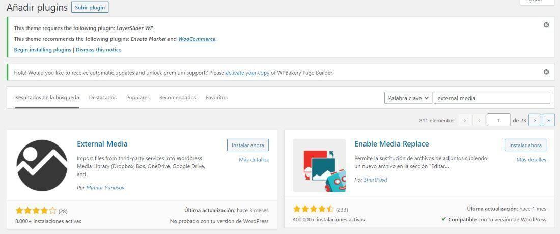 Instala el plugin External Media en WordPress.