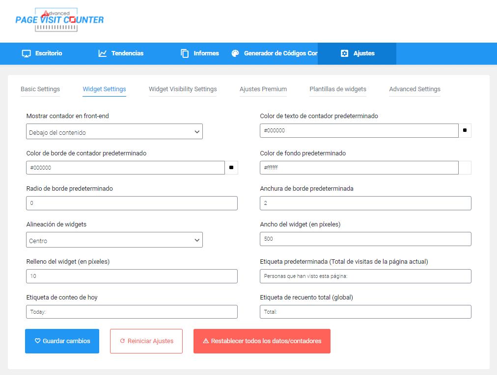 Plugin Page Visit Counter para medir visitas en WordPress