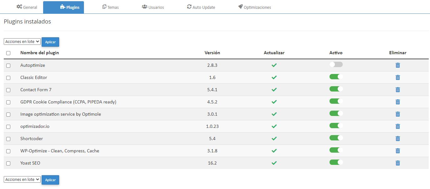 Desactivar o activar plugins WordPress