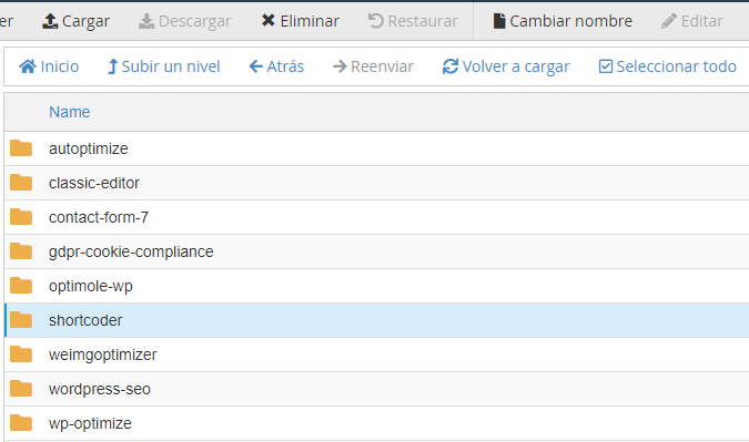 Desactivar plugins en administrador de archivos