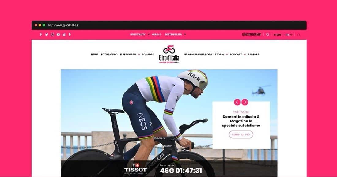 Página web Giro Ciclista Italia