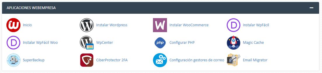 aplicaciones webempresa CPanel