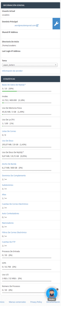 barra lateral CPanel
