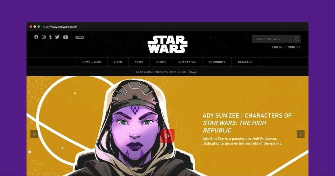 Página web Star Wars