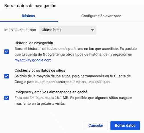 Limpieza caché Google Chrome